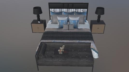 卧室床床头柜卧榻组合